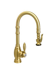 Waterstone 5200-PB Traditional PLP Prep Size Pull Down Faucet, Polished Brass