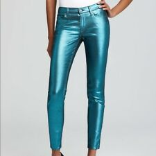 7 For All Mankind The Skinny Metallic Jeans Metallic Teal 25 X 29.5