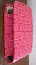 RR Open Cigarette Case Holder Pink Faux Reptile Leather