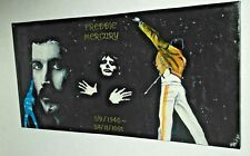 QUEEN, FREDDIE MERCURY..large,,.HAND PAINTED canvas 39x20  INS..READY TO HANG b