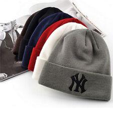 Unisex Winter Warm Beanie Skull Hat Cuff Solid Hip-Hop Bboy Wool Knit Ski NY Cap