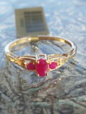Ruby Oval And Round Cut Ring 10kt Solid Yellow Gold