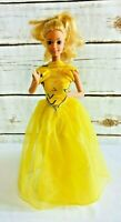 "MATTEL BARBIE Blonde Hair Blue Eyes Two Piece Yellow Outfit 12"" Tall Free Ship"