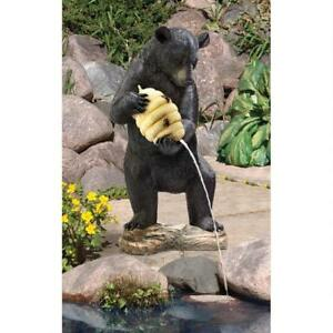 KY1029 - Beehive Black Bear Spitter Piped Statue/Water Fountain