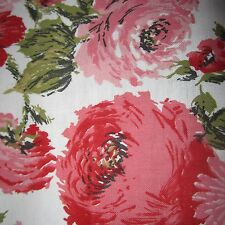 50cm x 93cm VINTAGE Cotton Fabric 1950S Curtain upholstery pink rose floral sew