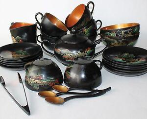 Vtg Japanese Hand Painted Urushi Koi Fish Wood Dinner Tea Set Cups Saucers 28 Pc