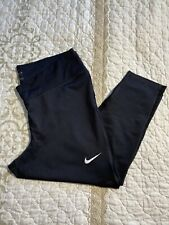 "🎼Nike Womens Dri-Fit Legging Capri Pants  Size 1X  Black / Mesh 21"" L - EUC #2"