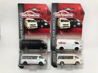 Majorette Toyota Hiace Series2 Set 4 cars White Silver Ivory Black Model Diecast