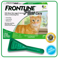 Frontline Plus Flea and Tick Treatment for Cats and Kittens - 6 Doses&Sealed