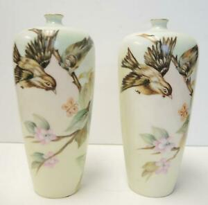 Matched Pair of Antique Hand Painted Rosenthal Vases - Artist Signed 1918