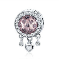 Authentic 925 Sterling Silver Pink Heart Charm Bead Fit Sterling Chain Women New