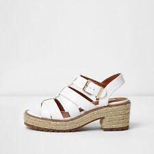 Ex River Island Khaki Green White Wedges Sandals Size 3 - 9 RRP £38