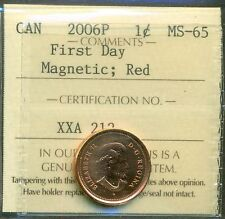 "2006P Canada One Cent  Magnetic ""First Day"" ICCS MS-65; RED"
