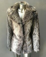 Ombré Vegan Faux Fox Fur Stroller Retro Hip Party Glam Plush Jacket Coat Sz M