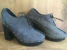 Rare Vintage Shoes N' Stuff Frank Sbicca Blue Platform Lace Up Heel Shooties 7