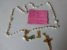 BEAU ancien chapelet  doublé OR avec perles en nacre veritable  Christ   rosary