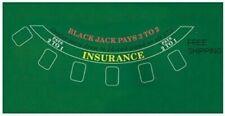 "Blackjack Table Top Layout 36""x 23"" Green Mat Pad Felt Portable Cover"