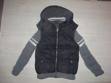 boys boy coat jacket age 8-9 years black and grey fleece lined cardigan arms
