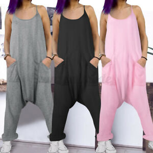US Women Strappy Harem Loose Jumpsuits Casual Baggy Romper Pants Overalls Summer