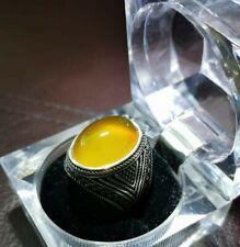 Amazing Yamani Agate Men Silver Ring, hakik, aqeeq, aqiq خاتم عقيق شرف الشمس
