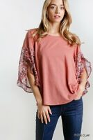 Umgee Floral Print Linen Blend Ruffle Bell Sleeve Rose Top Size S M L