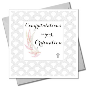 Religious Occassions Card, Ferns and Cross, Congratulations On your Ordination
