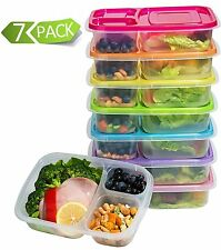 Food Storage Containers Set of 7 Meal Prep Containers 3 Compartment Lunch B