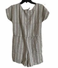 New listing Vintage 1980s Linen Striped Summer Romper Size Large