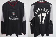 2002-2003-2004 Liverpool FC Reds Jersey Shirt Away Reebok Gerrard #17 L/S XL