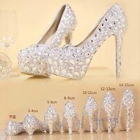 Vogue Womens Rhinestone High Heel Platform Bridal Wedding Crystal Pumps Shoes Sz
