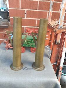 2x vintage Trench Art brass shell vase  Militaria Bofors  40mm Anti-Aircraft