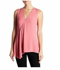 Theory Orchid Pink V-Neck Sleeveless Silk Georgette Fluid Flare Blouse Top L