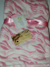 BABY GEAR BLANKET ZEBRA OR JUNGLE CAT STRIPES PINK WHITE ALL PURPOSE PLUSH GIRL