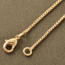 Wholesale Jewelry Rose Gold Plated Womens Mens 1mm Wide Box Chain Bracelets 7.8""