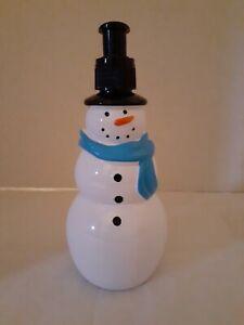 Plastic Snowman Soap Lotion Dispenser Blue Scarf Empty Pump Bottle