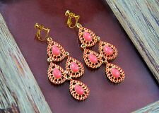 Rings`Ears Clip Pendant Candlestick Coral Original Evening Marriage C4