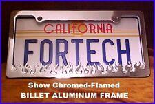 """Chrome BILLET """"FLAMES"""" Design LICENSE PLATE FRAME"""