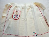 Apron Vintage 1950's Half Apron White / Red Embroidered
