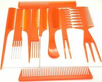 10 piece Hair Styling Comb Set Professional Orange Brush Barbers High Quality