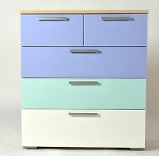 Butler 3 + 2 Chest of Drawers in Light Oak, White, Light Blue & Lilac Effects