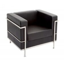 Leather Single Seat Sofa Space Reception Lounge Chair Furniture Office Black