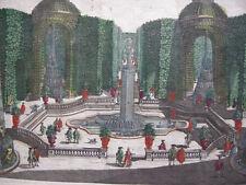 Gartenarchitektur Lustbassin Guckkastenblatt Probst kolor Kupferstich 1740