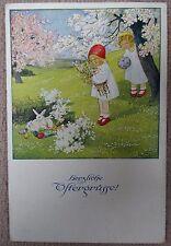 Pauli Ebner Bezaubernde Alte Ak Ostern Weihnachten Kinder Weiße Hasen Um 1919