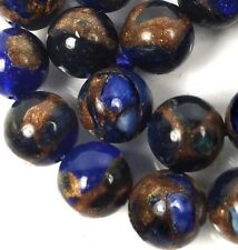 8mm blue Sapphire in Quartz with Pyrite Round Beads (24)