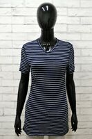 Maglia Donna ARMANI JEANS Taglia S Shirt Woman Manica Corta Blu A Righe Cotone