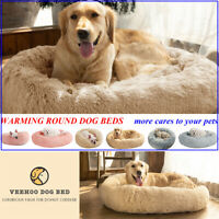 VEEHOO Donut Plush Dog Cat Beds Warm Soft Faux Fur Pet Calming Beds Kennel Nest