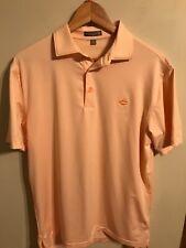 Peter Millar Summer Comfort Men's Golf Polo Shirt Orange/White Stripes • MEDIUM