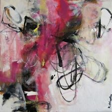 Layered Original expressionistic abstract painting acrylic on canvas 12x12 small