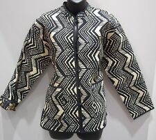 Jacket Small Reversible Black White Geo and Black FLoral Quilted Button Down 118