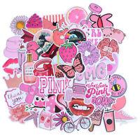 50Pcs Cartoon Pink Girls Stickers DIY Suitcase Laptop Guitar Bicycle Car Decals